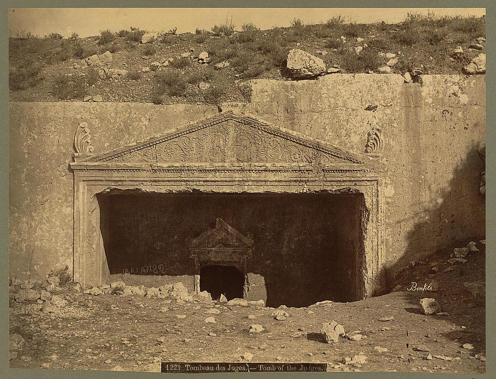 צילום קברי הסנהדרין בירושלים מהמאה ה-19 לספירה הנוצרית - מקור: צילומי המושבה האמריקנית