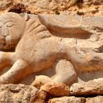 תבליט אריה שאותר במהלך חפירות בקלעת נמרוד