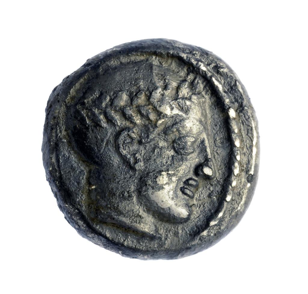 מטבע מתקופת שלטונו של המלך אנטיוכוס השלישי. צילום: קלרה עמית, באדיבות קשות העתיקות