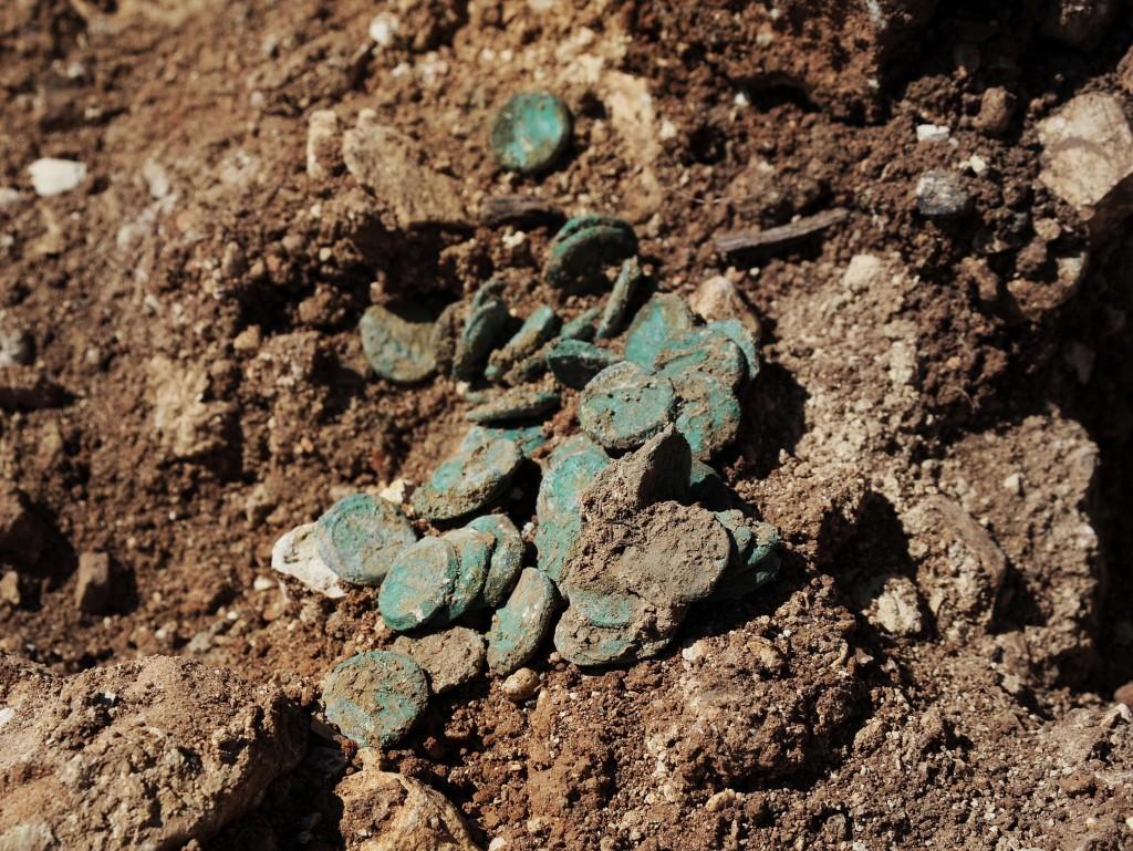 המטבעות כפי שנמצאו ליד כביש ירושלים תל אביב - צילום: ולדימיר נייחין, באדיבות רשות העתיקות