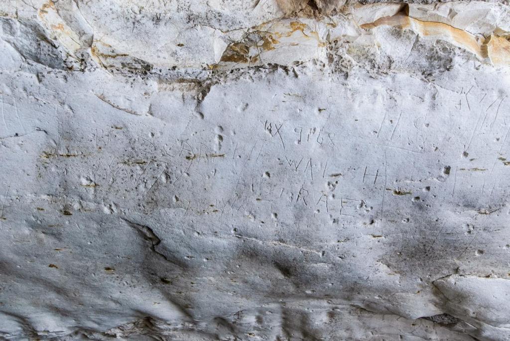 חריטות שמות החיילים במאגר המים בצומת האלה - צילום: אסף פרץ
