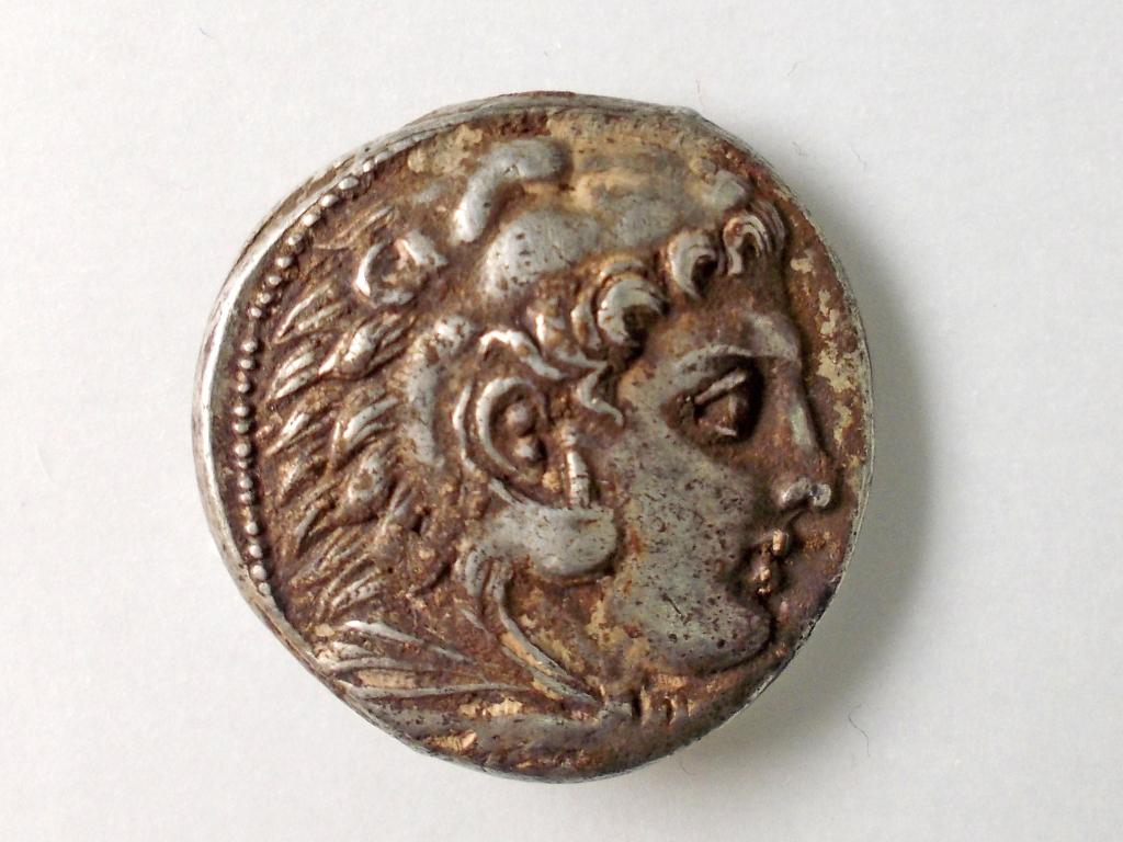 פניו של המצביא הראקלס על פני המטבע שנמצא בראש העין -  צילום: רוברט קול