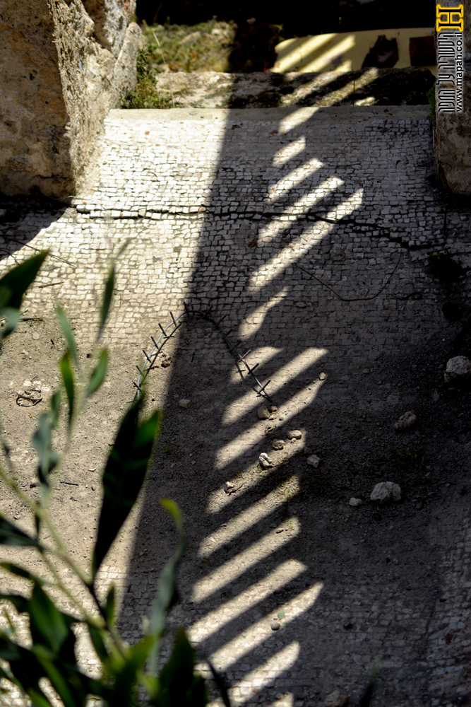 רצפת הפסיפס במבואה בבית המרחץ - צילום: אפי אליאן