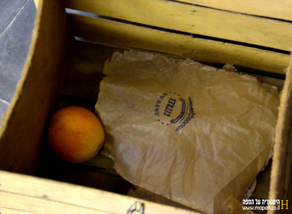 נייר מודפס לדוגמא ותפוז דמה בארגז פירות הדר - צילום: אפי אליאן