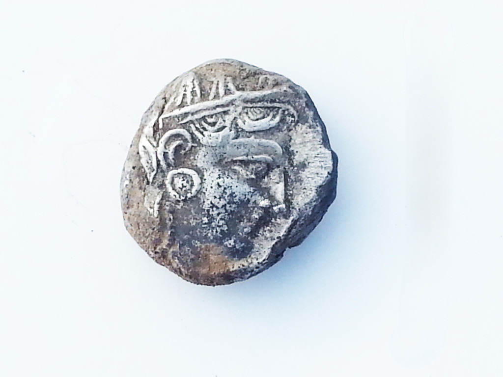 תמונת המטבע שנתגלה במבנה בית החווה, הנושא את דמות העוף הלילי כוס