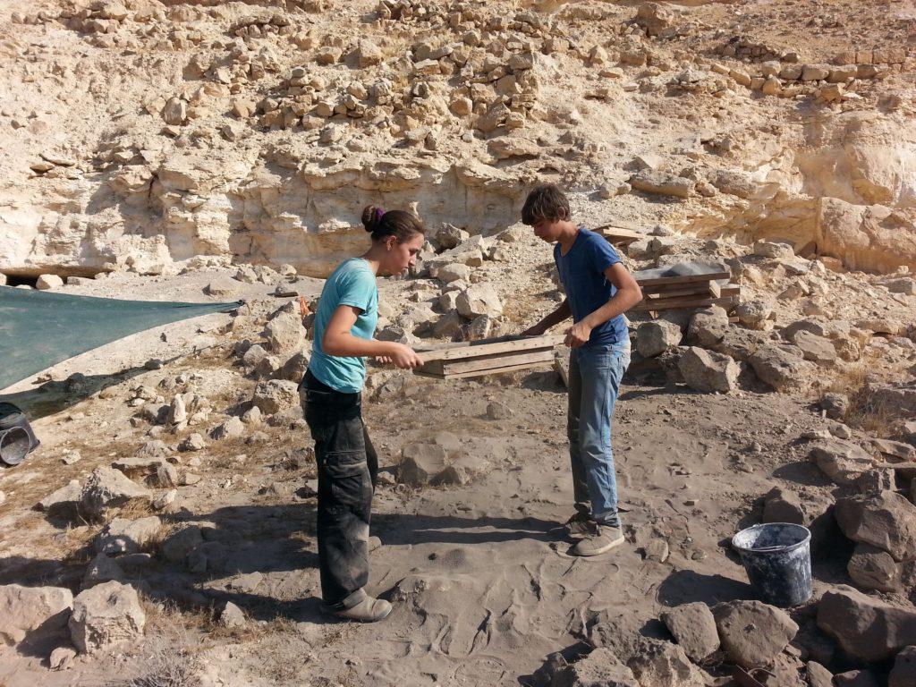 חניכי בית ספר שדה הר הנגב במהלך העבודה וסינון החומר האורגני