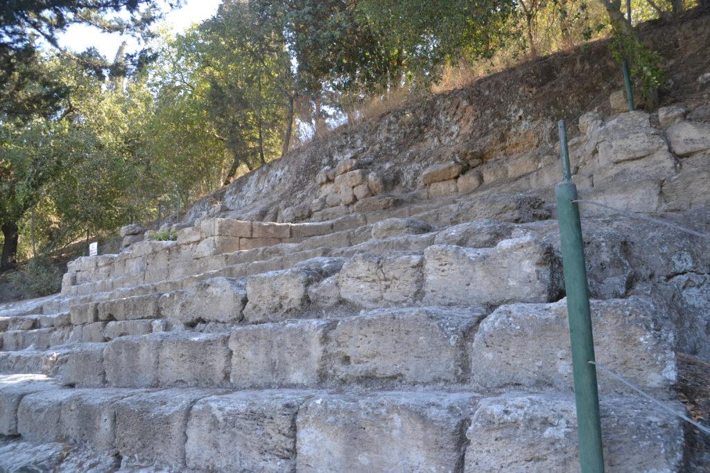 מדרגות הישיבה , שימשו ככל הנראה כמקום התכנסות בימי זכרון - צילום: אפי אליאן