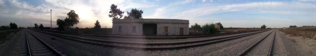 תמונה פנורמית מכיוון מסילת דרום למסילת צפון בתחנת נען - צילום: היסטוריה על המפה