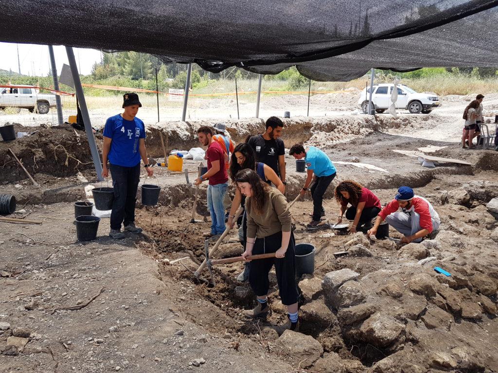 בחפירה לקחו חלק חניכי המכינות הקדם צבאיות פארן וחינתון. צילום: מיכל הבר