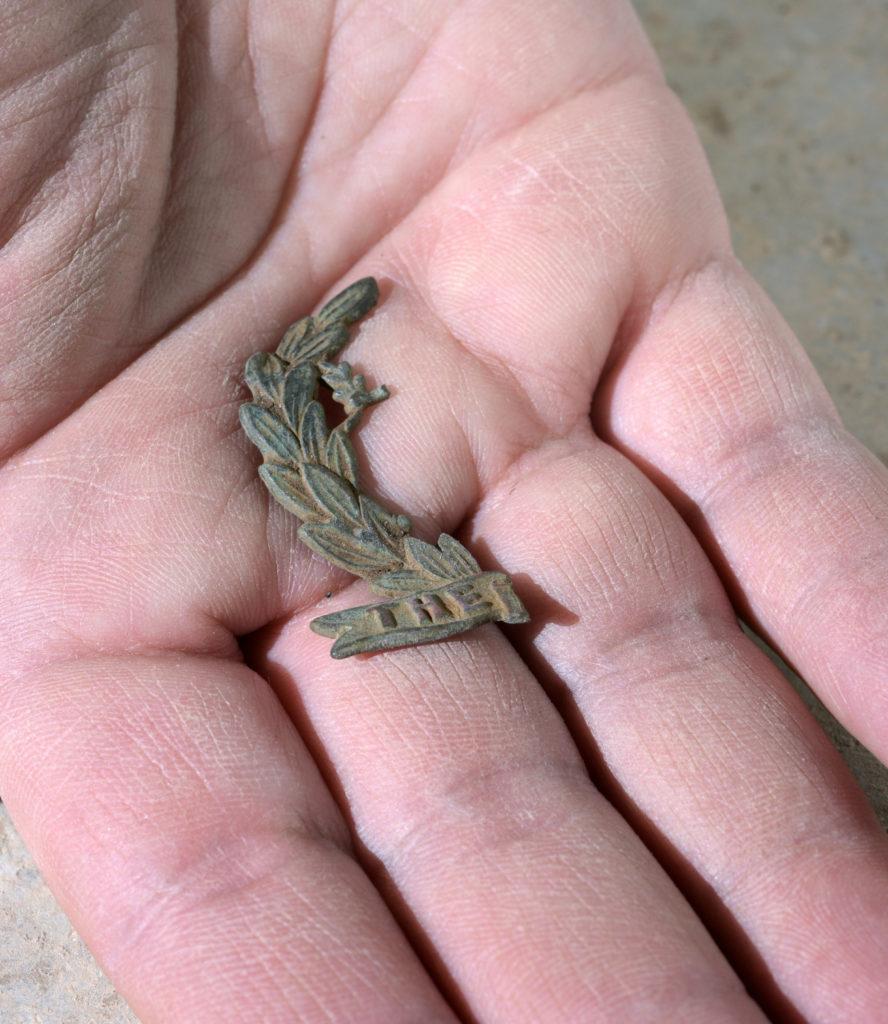 שבר סמל של יחידת נורפולק הבריטית. צילום קלרה עמית