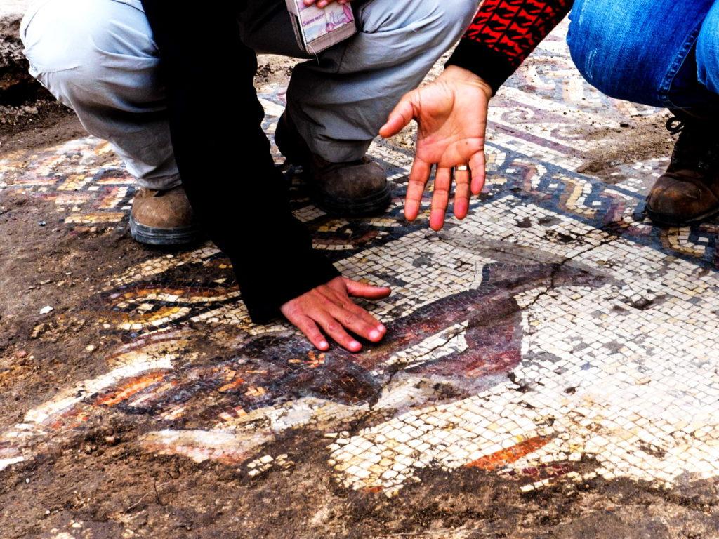 הפסיפס שנחשף בקיסריה ועבודות השימור של משמרי רשות העתיקות. צילום: אסף פרץ